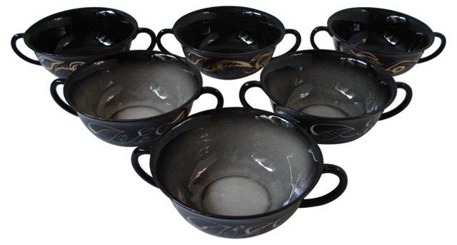Art Deco Handled Soup Bowls, S/6