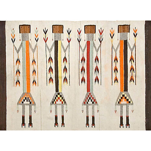 "Antique Navajo-Style Kilim, 3'6"" x 5'"