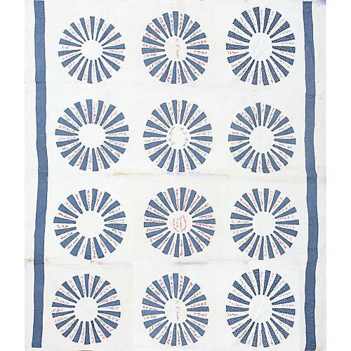 "Blue & White Quilt, 6' x 6'9"""