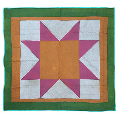 "Geometric Quilt, 6' x 6'5"""