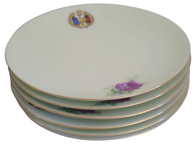Sèvres Celedon & Gilt Dinner Plates, S/6