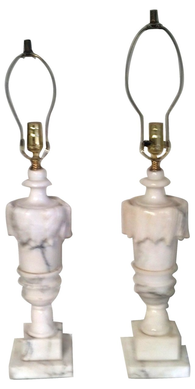 Carrara Marble Lamps, Pair