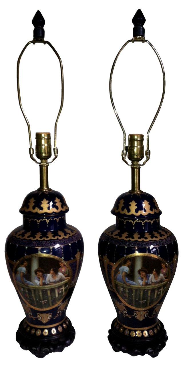 Dark Blue & Gold Satsuma Lamps, Pair