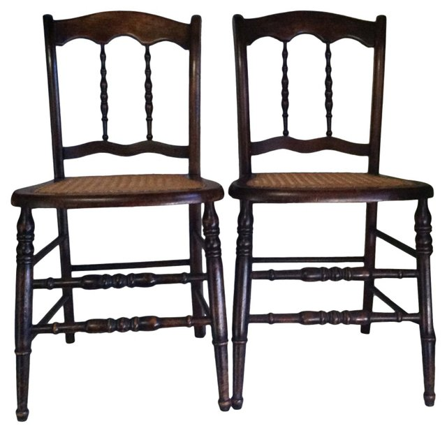 Antique Chairs w/ Cane Seats, Pair