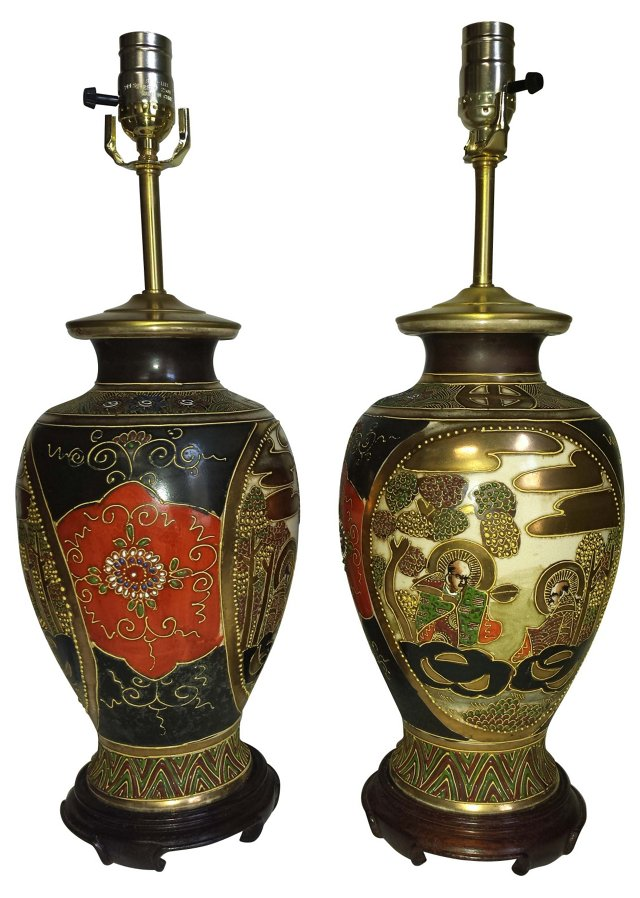 Japanese Satsuma Lamps, Pair