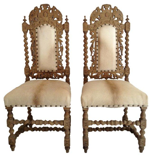 Chairs w/ Brazilian Cowhide, Pair