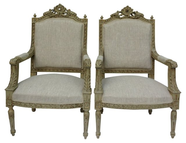 Linen-Upholstered Armchairs, Pair