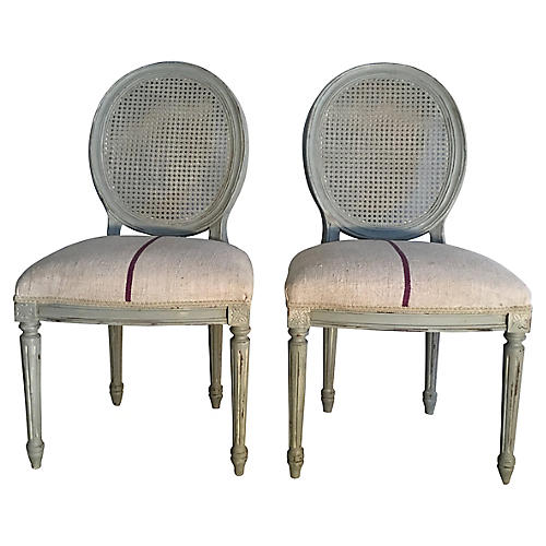 French Blue Chairs, Pair
