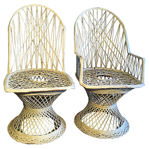 Wicker Chairs, Pair
