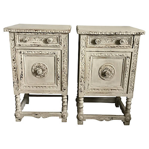 Hand-Carved Side Tables, S/2