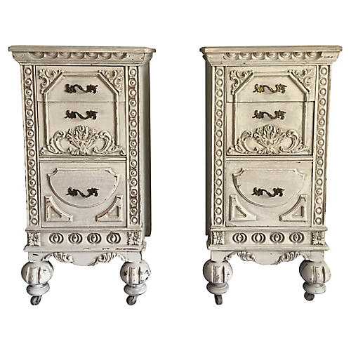 Carved Side Tables, Pair