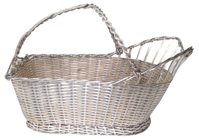 French Wicker Silverplate Bottle Holder