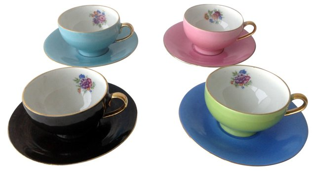 French Cups & Saucers, Set of 4