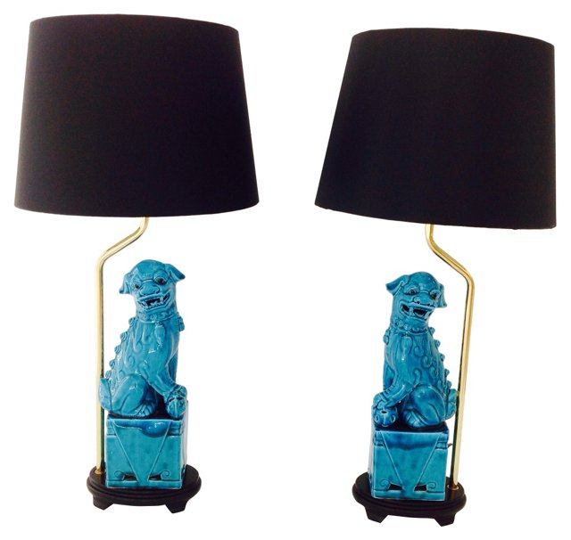 Foo Dogs Lamps, Pair