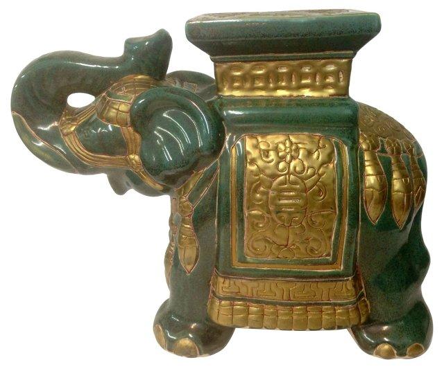 Green & Gold Elephant Garden Stool
