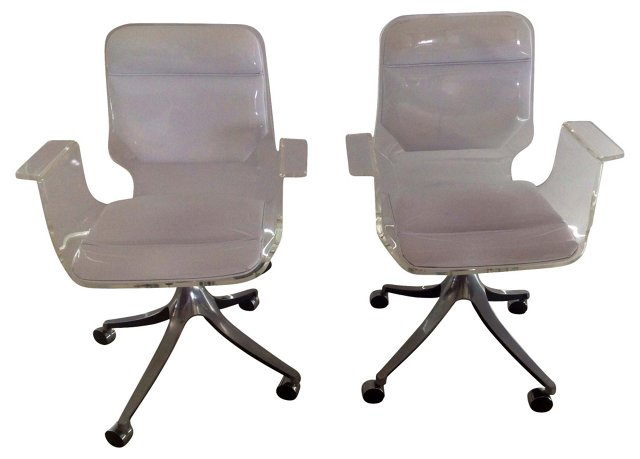 Lucite &   Patent Leather Chairs, Pair