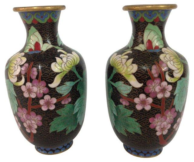 Cloisonné Vases, Pair