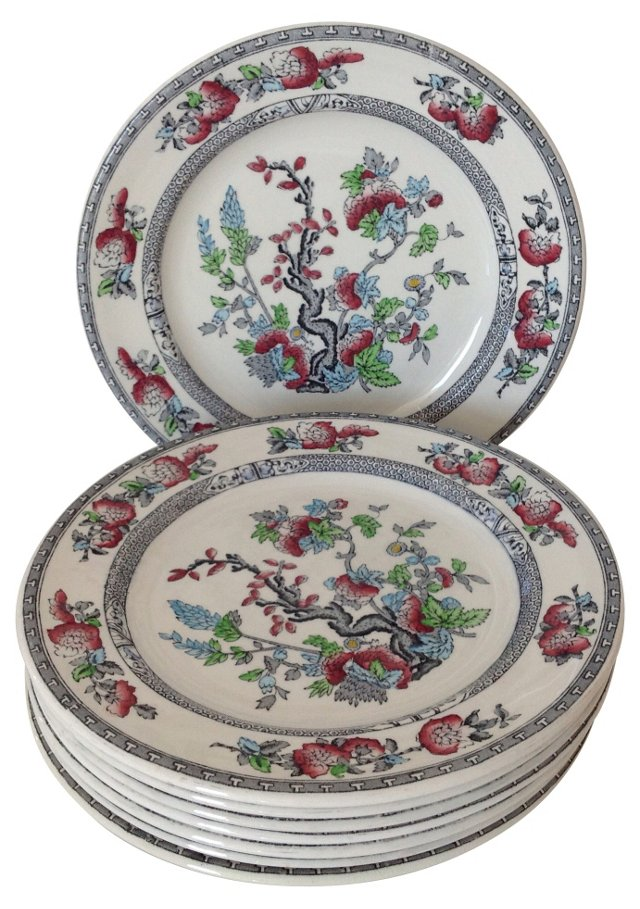 Floral English Plates, S/8