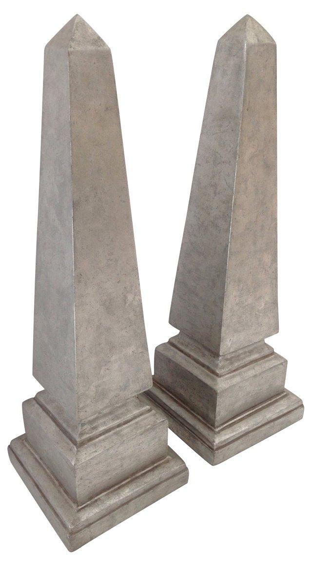 Silvertone Obelisks, Pair