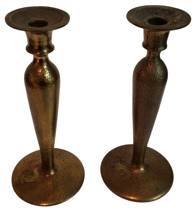 Hammered Brass Candlesticks, Pair