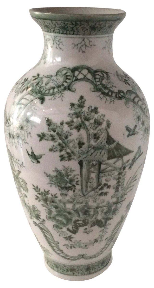 White & Green Hand-Painted Jar