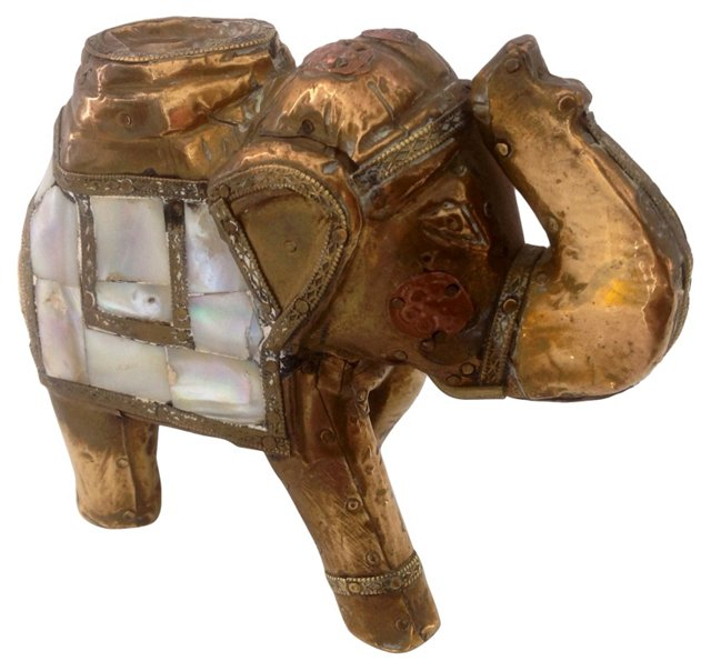 Mother-of-Pearl & Brass Elephant