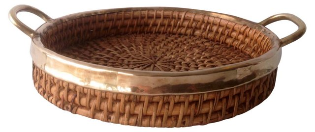 Gold Trimmed Woven Tray