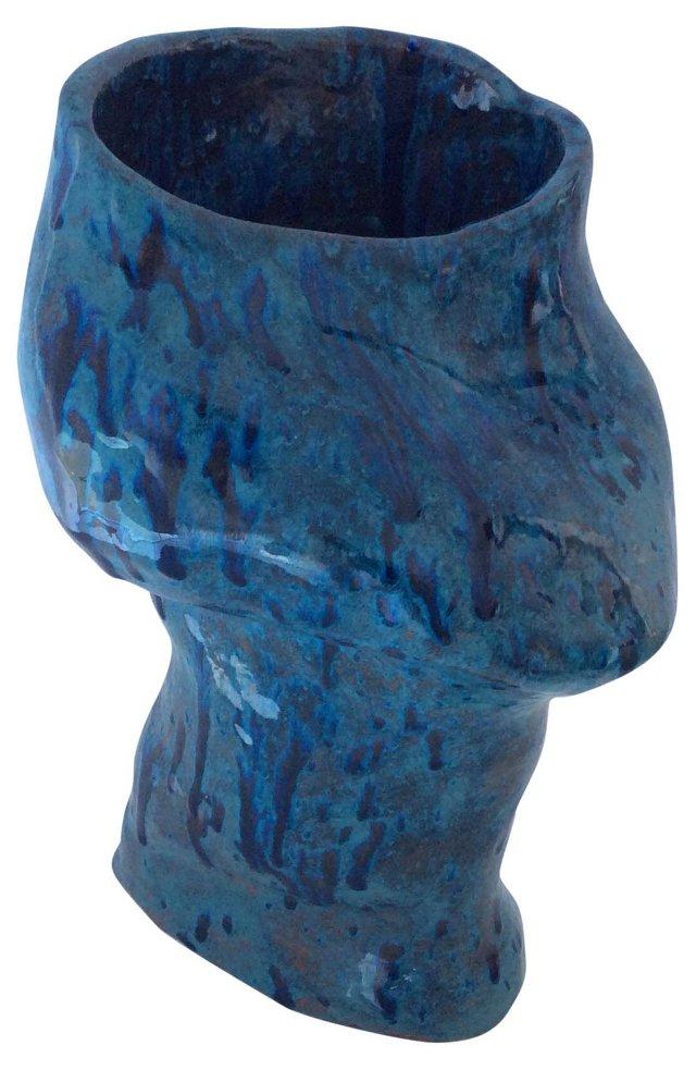 Midcentury Terracotta Blue Vase