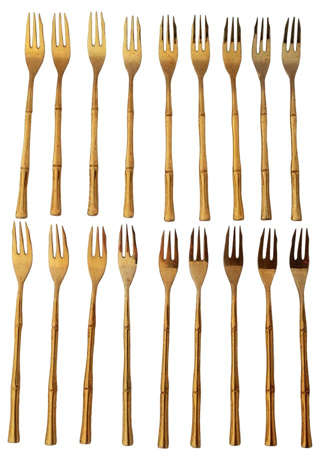 Gold Cocktail Forks, S/18