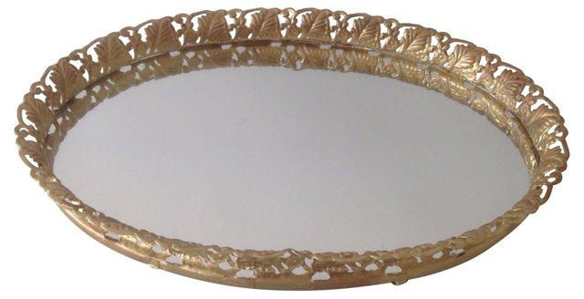 Gold Filigree Oval Vanity Tray