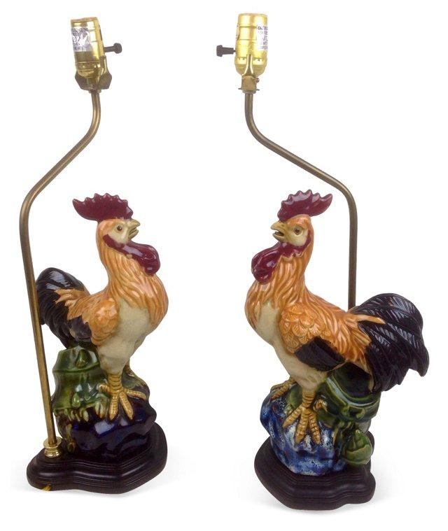 Majolica Rooster Lamps, Pair