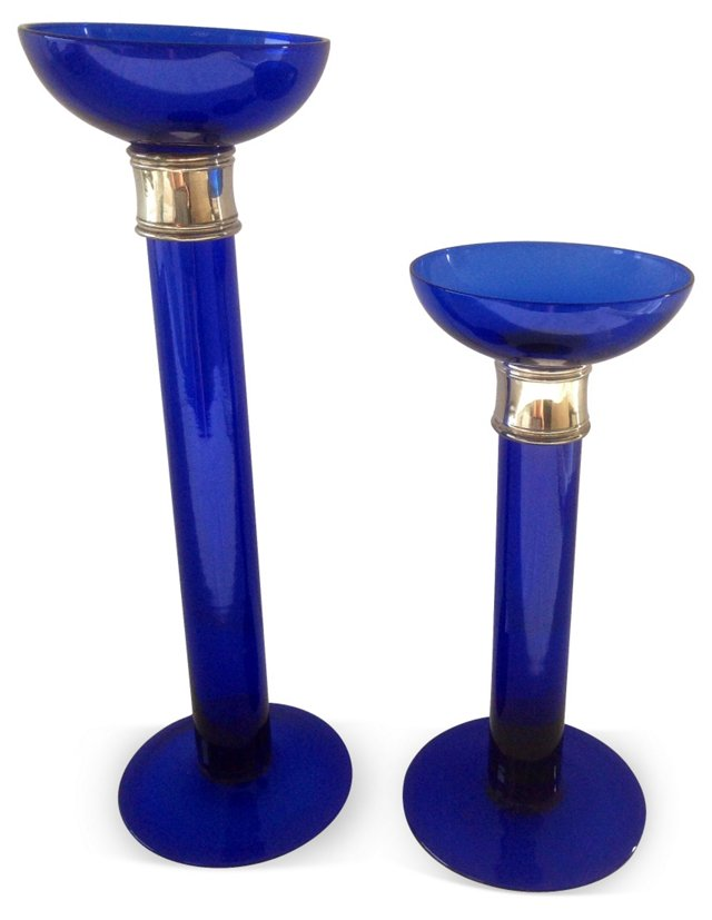 Blue & Silver Glass Candlesticks, Pair