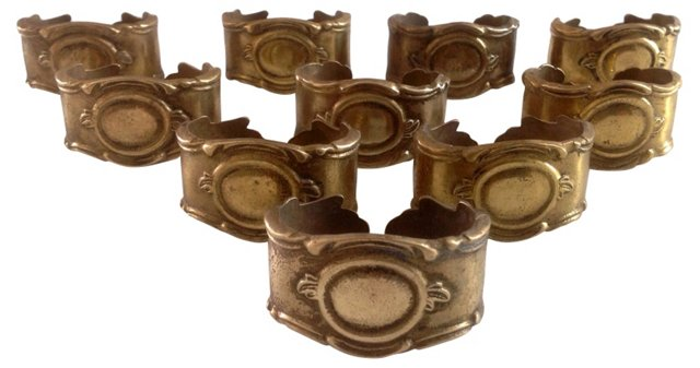 Solid Brass Napkin Rings, S/10