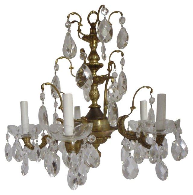Spanish  Brass & Crystal Chandelier