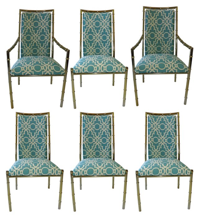 Bamboo-Style Dining Chairs, S/6