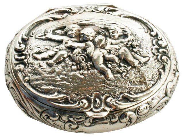 800 Silver Putti Snuff Box