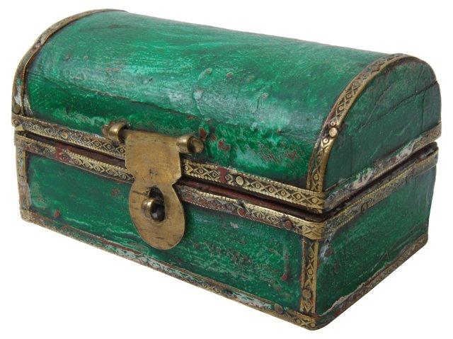 Small Wood Box w/ Brass Trim