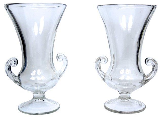 Pressed Glass Urn Vases, Pair