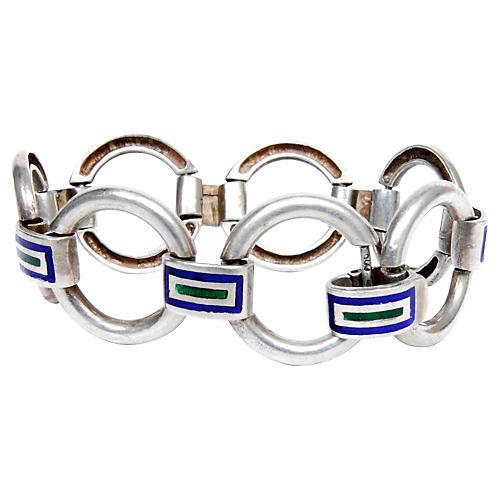 Sterling Silver & Enamel Link Bracelet