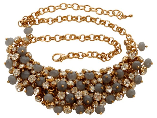 Goldtone, Rhinestone & Bead Bib Necklace