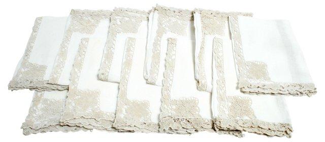 Battenberg Lace Linen Napkins, S/12