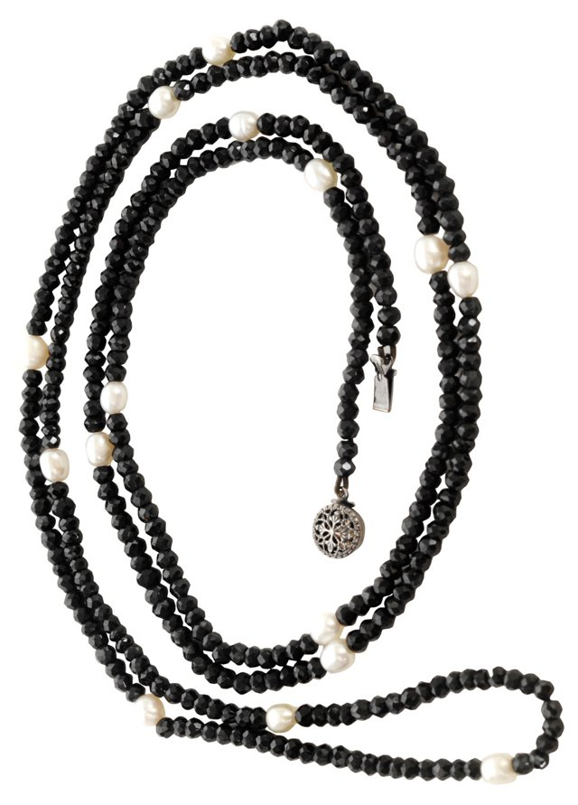 Pearl & Black Spinel Bead Necklace