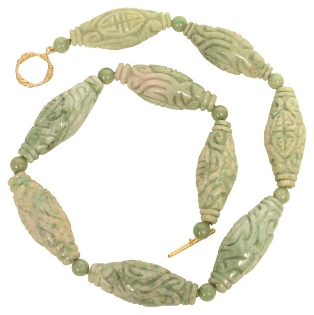Carved Jade Necklace w/ Vermeil Toggle