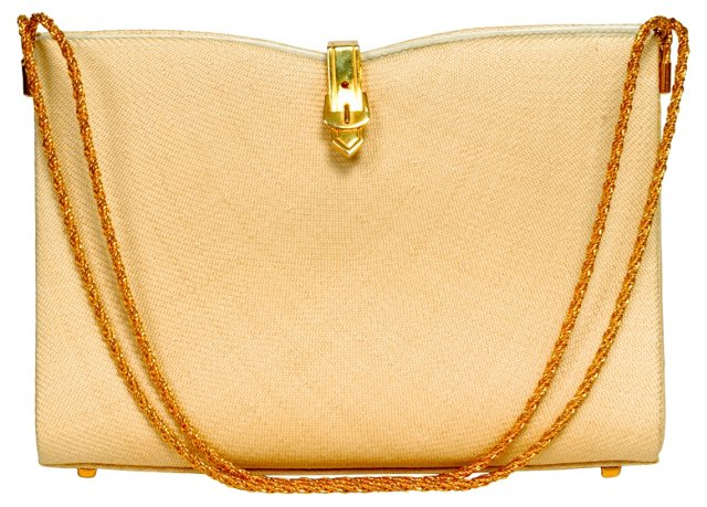 Rodo Ivory Linen Evening Bag
