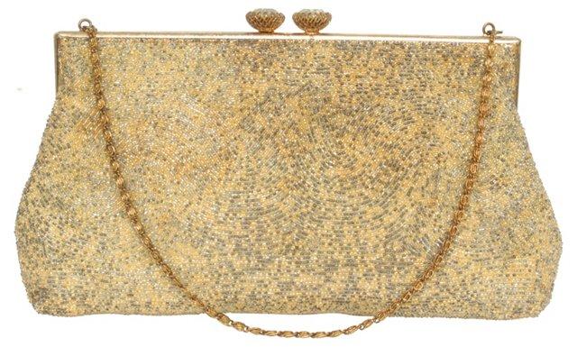 Beaded Evening Bag w/ Rhinestone Clasp