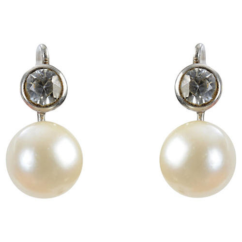 14K Gold, Spinel & Pearl Earrings