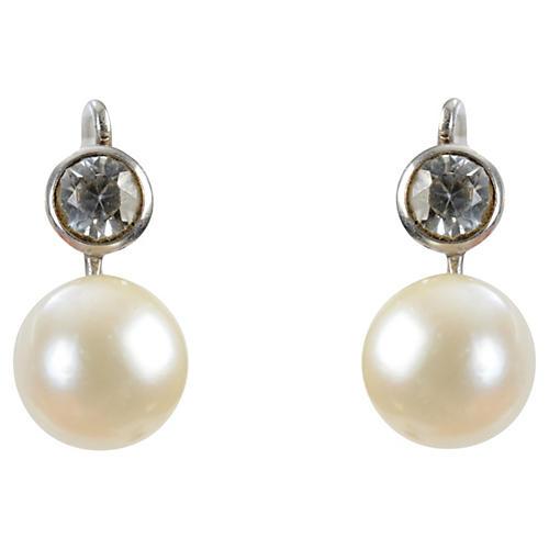 14K Gold, Spinel & Pearl Earrings