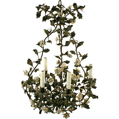 Tole Chandelier w/ Porcelain Flowers
