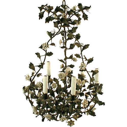 Tole Chandelier w/ Porcelain Flowers