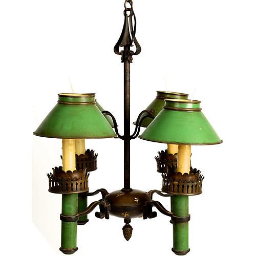 Green Tole & Brass Chandelier